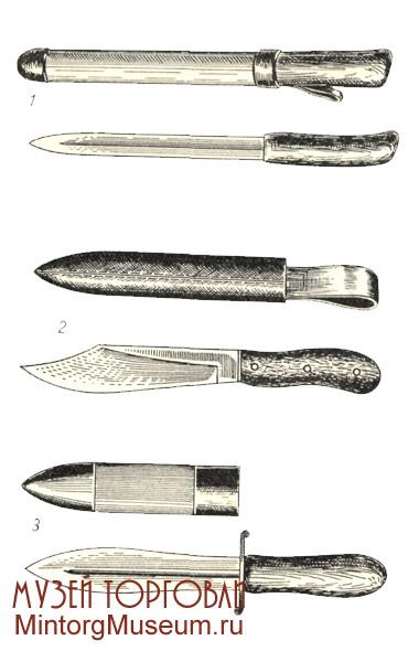 Ножи промысловые охотничьи: 1 — «обыкновенный»; 2 — «таёжный»; 3 — «медвежий»